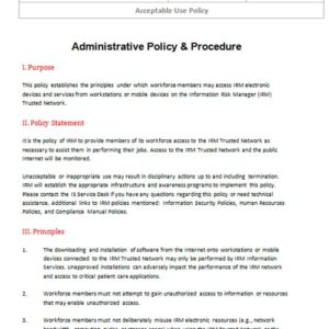 Security Standard Operating Procedures and Policy
